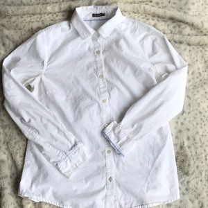 J McLaughlin Classic White Cotton Button Down